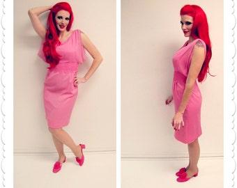 1960s Elinor Gay Pink Chiffon and Lace Wiggle Dress
