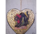 vintage style retro black cat Valentines day decoration heart ornament shabby chic old fashioned holiday home decor