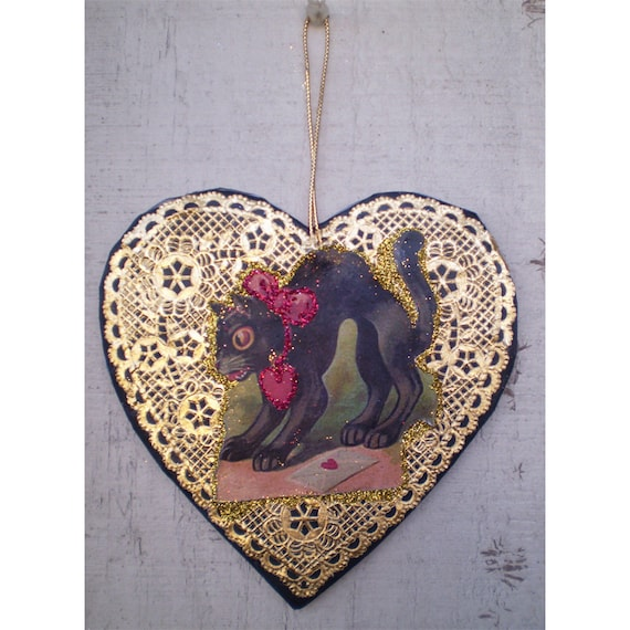 vintage style retro black cat valentines day decoration heart ornament
