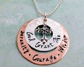 Serenity Prayer Necklace - Sobriety Necklace - Layered Necklace - Faith Jewelry - Hand Stamped Serenity Prayer Jewelry - Recovery Gift -