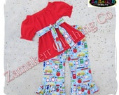 Girl Back To School Clothing Outfit Pageant 24 MONTH SIZE 2T 3T 4T 5T 6 7 8 t Red Clothes 1st day of Kindergarten Preschool Top Pant Set