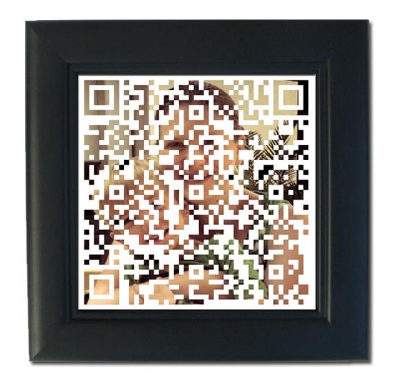 Custom QR Code Gift Using Your Own Photo or Image - Great Techie Gift for the iPhone Dad, Mom, Pregnancy or Birth Announcement, Birthday