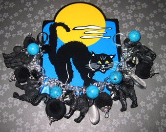 Black Cat Jewelry Halloween Charm Bracelet Scaredy Cats Psycho Kitties OOAK Vintage Style Eclectic Costume Jewelry Accessory