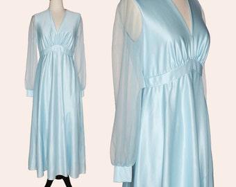Vintage 70 Maxi Dress / Light Blue Dress / Blue Maxi Dress