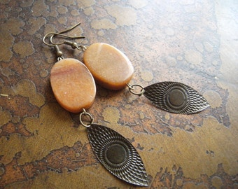 Meet the Eye Adventurine Antique Bronze Beaded Dangle earrings