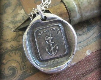 Anchor Wax Seal Necklace - I have hope in you - antique Italian wax seal jewelry pendant in fine silver Anchor jewelry - IS275