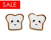 SALE 15% Off - Bread Buddy 2 Toast Earrings - Sterling Silver Posts Studs Kawaii Cute