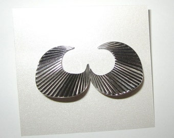 Silver Crescent Earrings - Vintage 1980s - Post Style