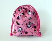 Pink Minnie Mouse Fashionista Drawstring Bag, children crayons bag, kids storage bag, birthday goody bags, reusable fabric bag, gift bags