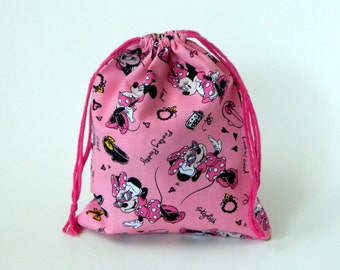 Pink Minnie Mouse Fashionista Drawstring Bag, children crayons bag, kids storage bag, birthday goody bags, reusable fabric bag, gift bags