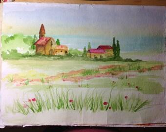 11 x 15 Original Watercolor Landscape