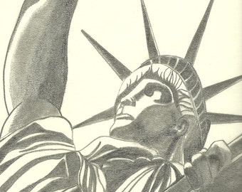 10 x 12 Graphite Lady Liberty Drawing