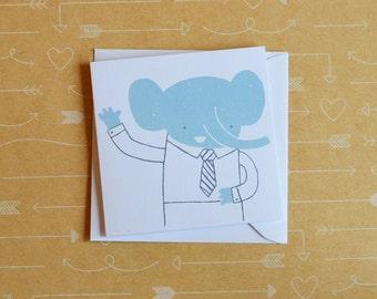 Hello Elephant - Screenprinted Card