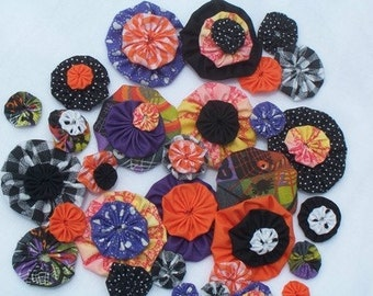 HALLOWEEN Fabric Flowers Appliques Rosettes Party Pinwheels Hair Accessories YoYo 40 Headband Embellishment