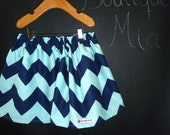 SAMPLE - Children Skirt - Will fit Size 5T up to 7 yr - Riley Blake Chevron - by Boutique Mia and More - Ready To Ship