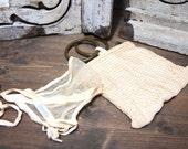 Free Ship Lot of two vintage cottage lace items. Vintage Troyler's Baby Bonnet Ear Cap Victorian hat Newborn & Crochet Bag Purse photo prop