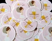 First Holy Communion Minis / Mini Tags for Table Confetti, to Make Mini Cupcake Toppers and More / Choose Your Hair Color / Set of 25