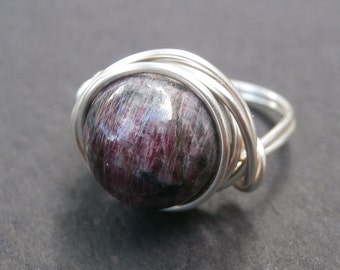 Tourmaline Ring, Turmaline Jewelry, Silver October Birthstone Ring, Large Purple Stone