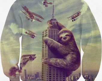 Sloth Sweatshirt, Slothzilla, Sweater, Warm Long Sleeve