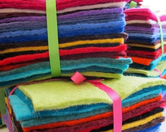 100% Wool Felt Sheets - Stack of 20 colours