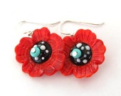 Red Glass Bead Jewelry, Turquoise Lampwork Earrings, Flower Glass Bead Earrings, Lampwork Jewelry, Beadwork Earrings