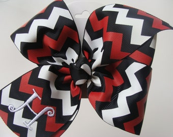 Zig Zag Initial Hair Bow, Custom Boutique Hairbow, Chevron Girls  Hair Bow, Red, black, White bow, Large Bow, Customized Gift, Tween Gift