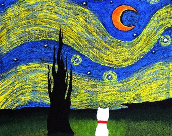 Westie Terrier Dog Large Folk Art PRINT Todd Young painting Starry Sky