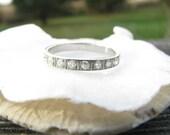 RESERVED, 3rd Paymt, Art Deco Diamond Wedding Band, Sparkly Old Mine Cut Diamonds in Platinum, Orange Blossom Design, Engraving, Circa 1920