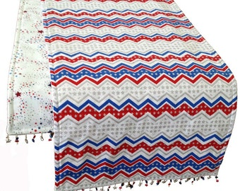 Red. White and Blue Table Runner, 4th of July, Patriotic Table Runner