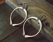 RESERVED for Kaitlinn, Copper Hoop earrings  - Simple rustic earrings - pounded copper hoop dangle earrings - open hoops