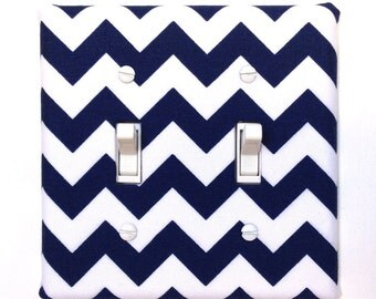 Double Standard Fabric Light Switch Plate Cover - Navy Blue Chevron