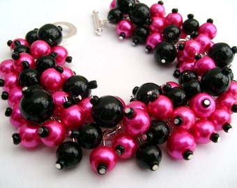 Hot Pink and Black Beaded Bracelet, Pearl Jewelry, Cluster Bracelet, Pearl Bracelet, Bridesmaid Gift, Pink Wedding - Jewelry By Kim Smith