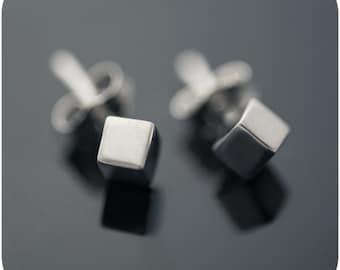 Slant Cube Earrings - Minimal sterling silver everyday earrings