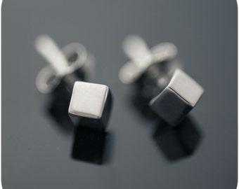 Slant Cube Earrings - Minimal sterling silver everyday earrings