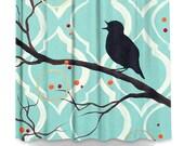 Blue Bird on a Branch Shower Curtain....Artistic Bathroom Decor by HD Greer