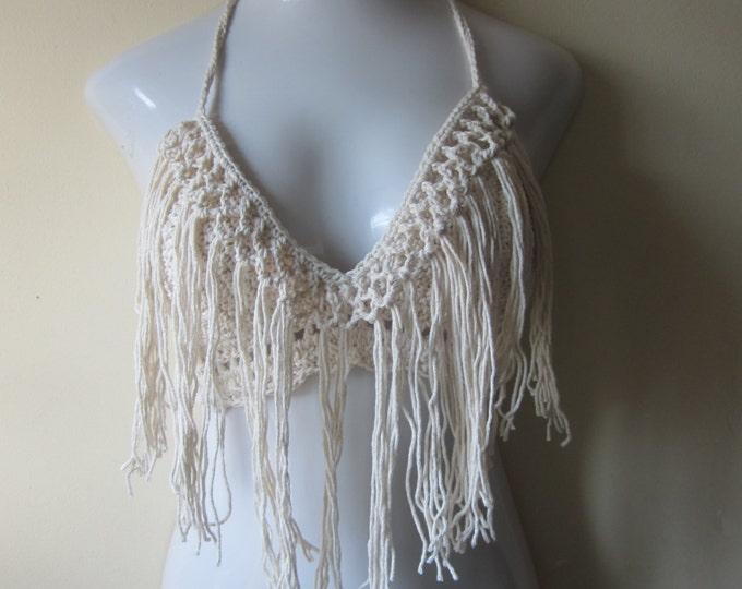 Festival top, halter top, crochet top, gypsy, bohemian, beach wear, bikini cover up