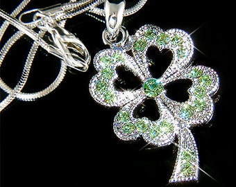 Irish Swarovski Crystal Saint Patrick's Day Lucky Green Four Leaf CLOVER SHAMROCK Pendant Charm Chain Necklace New Christmas Gift