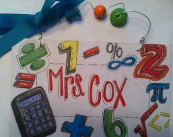 Hand personalized math teacher personalized sign