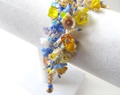Beadwoven Fringe Bracelet Bright Colors with Glass Flowers