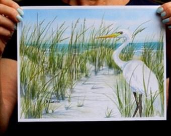 Egret Art Print, Sand Dunes, Beachscape, White Bird on Beach Sand Dunes, Beachy Wall Decor, Shore Bird, White Heron Print, Seashore Print