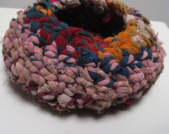 crocheted basket/bowl/nest multi-color upcycled fiber medium size