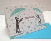 Letterpress Penguin Holiday Cards