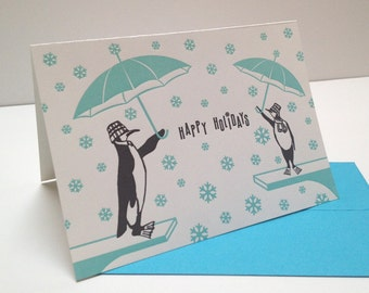 Letterpress Penguin Holiday Cards