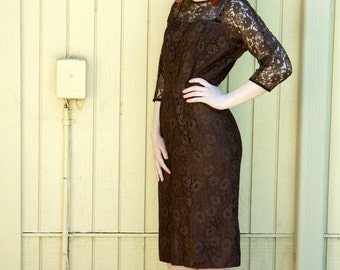 Vintage 1960s dark brown lace dress/ Mad Men style/