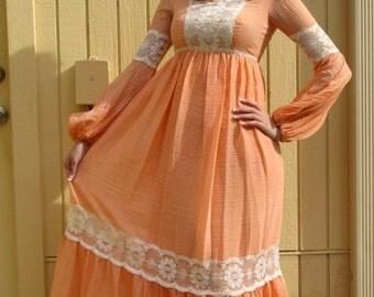 Vintage peach color peasant Maxi dress