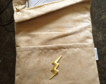 Gold Lightning Bolt - Book, ipod, eReader, Tablet, Comic, Magazine, Bag-Sleeve (etsy)