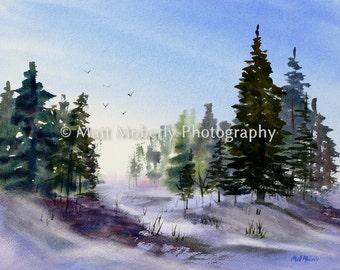 Evening Flight Fine Art Print from original watercolor