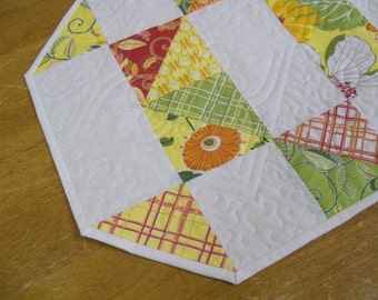 Table runner bright spring colors patchwork quilt decorative quilting designs