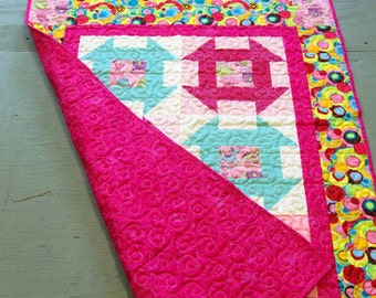 Baby Girl Crib Quilt Toddler blanket nap quilt hot pink teal Churn Dash quilt design 35 x 48