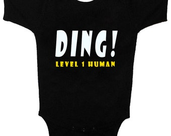 Ding! Level One Human Infant Black Funny Cute Baby One Piece Tshirts